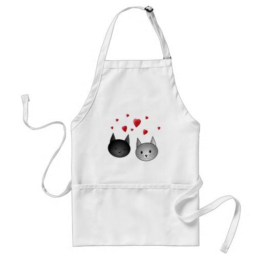 Cute Black and Gray Cats, with Hearts. Adult Apron