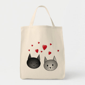 Cute Black and Gray Cats, with Hearts. Canvas Bags
