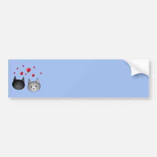 Cute Black and Gray Cats with Hearts Bumper Stickers