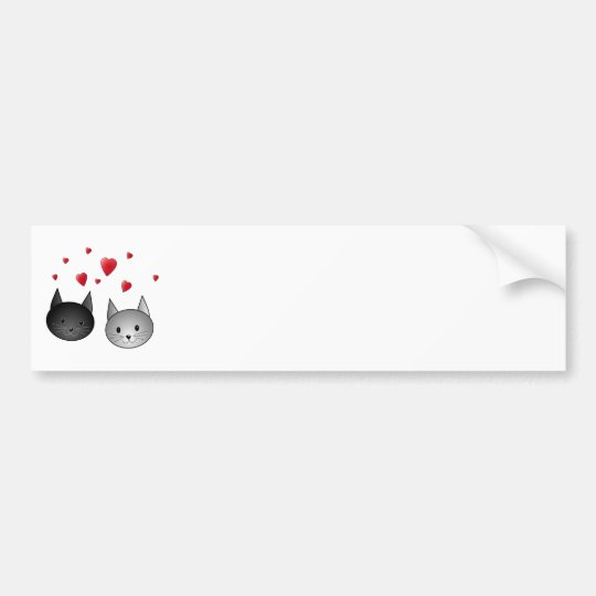 Cute Black and Gray Cats, with Hearts. Bumper Sticker
