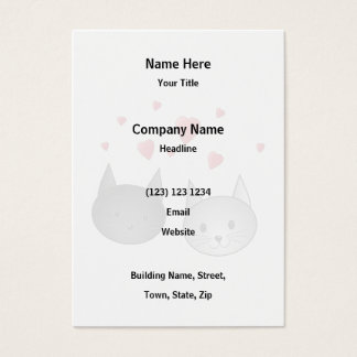 Cute Black and Gray Cats, with Hearts. Business Card