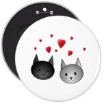 Cute Black and Gray Cats, with Hearts. 6 Inch Round Button