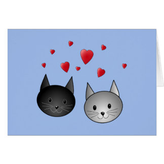 Cute Black and Gray Cats, with Hearts. Card