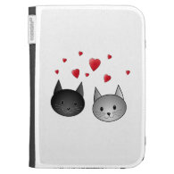 Cute Black and Gray Cats, with Hearts. Kindle Cases