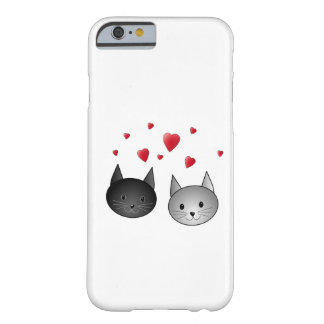 Cute Black and Gray Cats, with Hearts. Barely There iPhone 6 Case