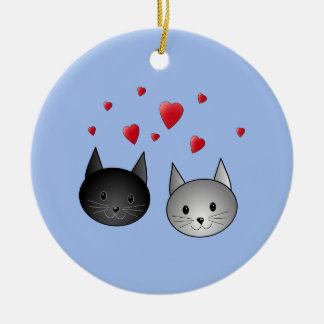 Cute Black and Gray Cats, with Hearts. Ceramic Ornament