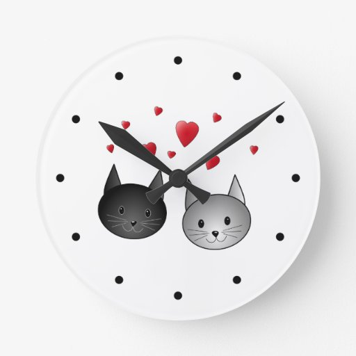 Cute Black and Gray Cats, with Hearts. Clock