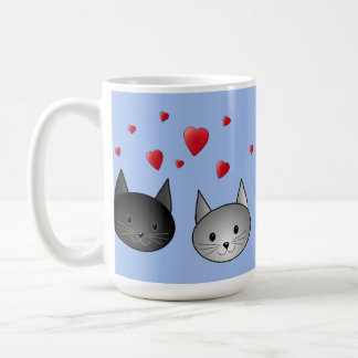 Cute Black and Gray Cats, with Hearts. Coffee Mug