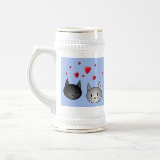 Cute Black and Gray Cats, with Hearts. Coffee Mugs
