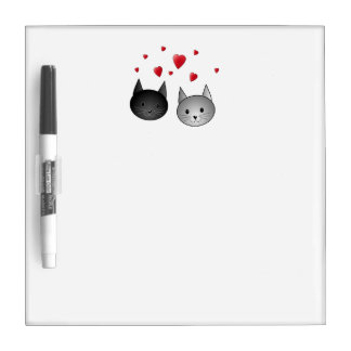 Cute Black and Gray Cats, with Hearts. Dry-Erase Board