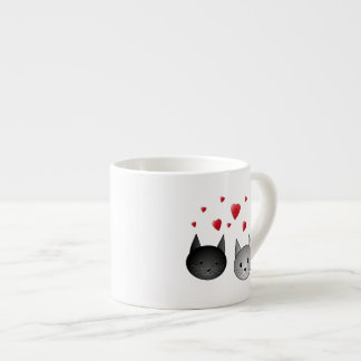 Cute Black and Gray Cats, with Hearts. Espresso Cup