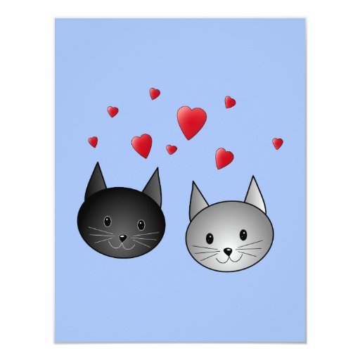 Cute Black and Gray Cats, with Hearts. Invite