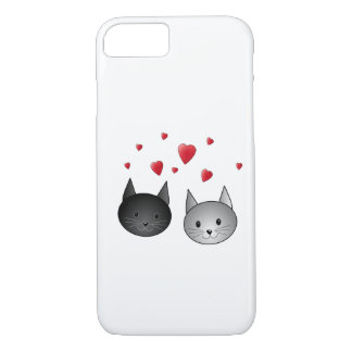 Cute Black and Gray Cats, with Hearts. iPhone 8/7 Case