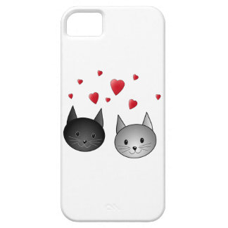 Cute Black and Gray Cats, with Hearts. iPhone SE/5/5s Case