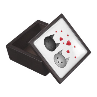 Cute Black and Gray Cats, with Hearts. Jewelry Box