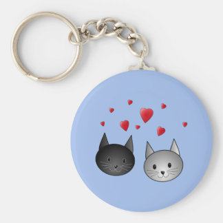 Cute Black and Gray Cats, with Hearts. Key Chains