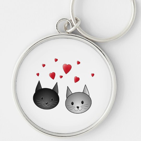 Cute Black and Gray Cats, with Hearts. Keychain