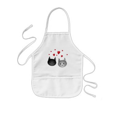 Valentines Themed Cute Black and Gray Cats, with Hearts. Kids' Apron