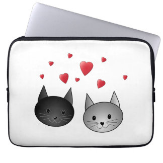 Cute Black and Gray Cats, with Hearts. Laptop Sleeve