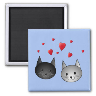 Cute Black and Gray Cats, with Hearts. Magnet
