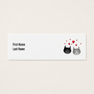 Cute Black and Gray Cats, with Hearts. Mini Business Card