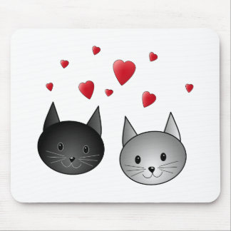 Cute Black and Gray Cats, with Hearts. Mouse Pad