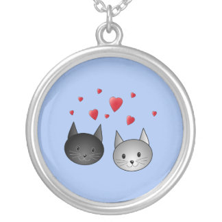Cute Black and Gray Cats, with Hearts. Jewelry