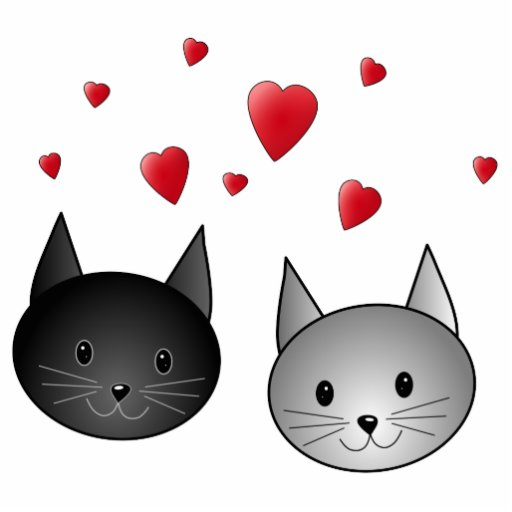 Cute Black and Gray Cats, with Hearts. Acrylic Cut Out
