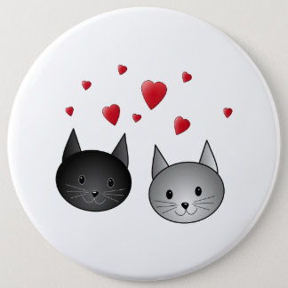 Cute Black and Gray Cats, with Hearts. Pinback Button