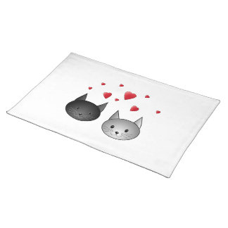 Cute Black and Gray Cats, with Hearts. Cloth Placemat