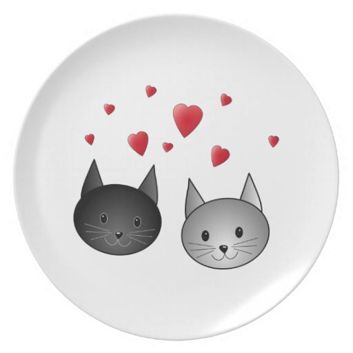 Cute Black and Gray Cats, with Hearts. Party Plates