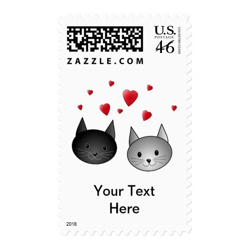 Cute Black and Gray Cats, with Hearts. Postage Stamp