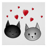 Cute Black and Gray Cats, with Hearts. Poster
