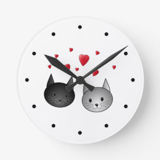 Cute Black and Gray Cats, with Hearts. Round Wall Clocks