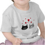Cute Black and Gray Cats, with Hearts. Shirt
