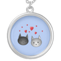 Cute Black and Gray Cats, with Hearts. Silver Plated Necklace