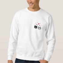 Cute Black and Gray Cats, with Hearts. Sweatshirt