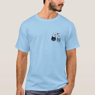 Cute Black and Gray Cats, with Hearts. T-Shirt