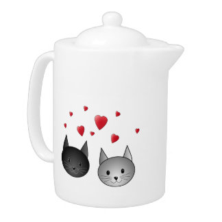 Cute Black and Gray Cats, with Hearts. Teapot