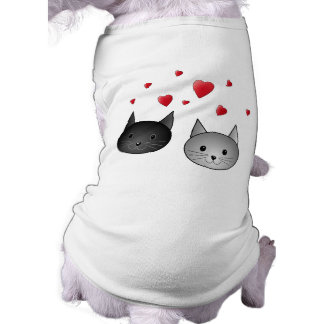 Cute Black and Gray Cats, with Hearts. Tee
