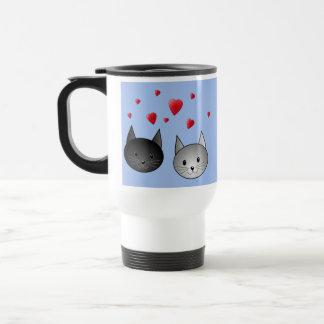 Cute Black and Gray Cats, with Hearts. Travel Mug