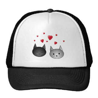 Cute Black and Gray Cats, with Hearts. Trucker Hat