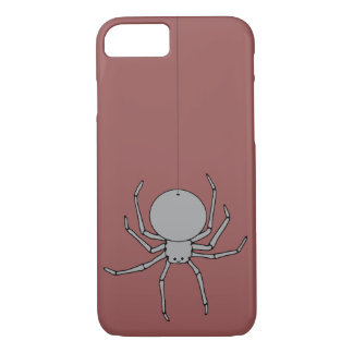 Cute Black and Gray Spider on a Thread iPhone 8/7 Case