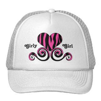 Cute black and hot pink girly zebra striped heart mesh hat