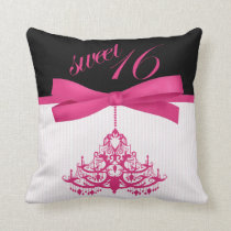 Cute Black and Hot Pink Sweet 16 Chandelier Pillow