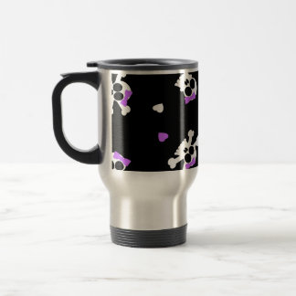 Cute Black and Purple Skull and Heart Print Travel Mug