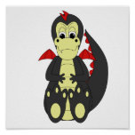 Cute Black And Red Dragon Posters