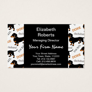 Cute Black and Tan Dachshund Pattern Business Card