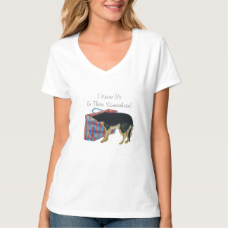 Cute black and tan dog with head in shopping bag T-Shirt