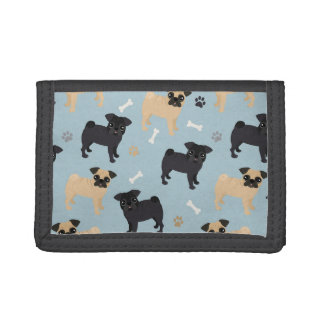 Cute Black and Tan Pugs Pattern Trifold Wallet